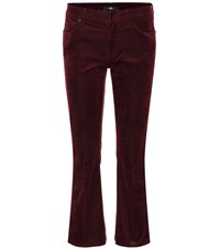 7 For All Mankind Cropped Bootcut Corduroy Jeans Red