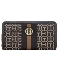 Tommy Hilfiger Lucky Charm Monogram Jacquard Large Zip Around Wallet