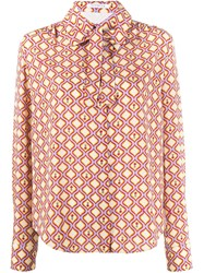 Vivetta Wave Print Pussy Bow Blouse 60