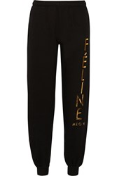 Brian Lichtenberg Feline Foiled Cotton Track Pants Black