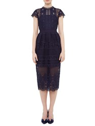 Ted Baker Scalloped Lace Tunic Dress Navy