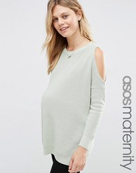 Asos Maternity Jumper With Cold Shoulder Detail Mint Green