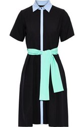 Novis Woman The Mateo Belted Pleated Stretch Wool Shirt Dress Black