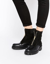 Park Lane Chunky Zip Front Leather Ankle Boots Black