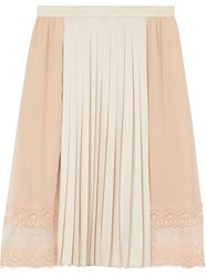 Burberry Lace Detail Silk Panel Pleated Skirt Pink