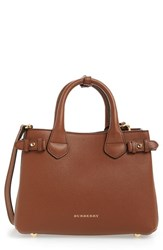 Burberry 'Small Banner' Leather Tote Beige Tan