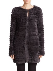 Adrienne Landau Knit Rabbit Fur Coat Dark Grey