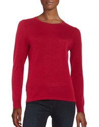 Lord And Taylor Petite Crewneck Merino Wool Sweater Geranium