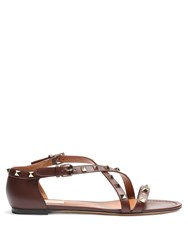 Valentino Rockstud Cross Strap Leather Sandals Brown