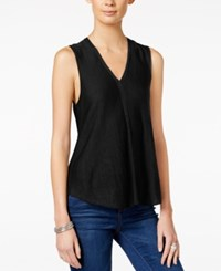 Armani Exchange Sleeveless V Neck Top Solid Black