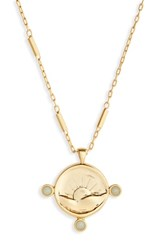 Madewell Etched Sun Necklace Vintage Gold