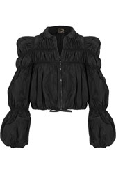 Giambattista Valli Ruched Taffeta Jacket Black