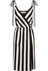 Marc Jacobs Wrap Effect Striped Crepe Dress Black