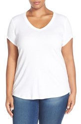 Plus Size Women's Sejour Short Sleeve V Neck Tee