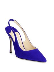 Manolo Blahnik Aziamo Suede Point Toe Slingbacks Electric Blue Black Magenta