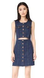 Madewell Denim Button Front Cutout Dress Addie Wash