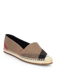 Burberry Hodgeson Check Canvas Espadrille Flats Navy Classic