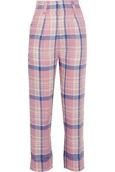 Paper London Woman Pleated Checked Twill Straight Leg Pants Pink