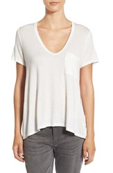 Lush Women's Deep V Neck Tee White