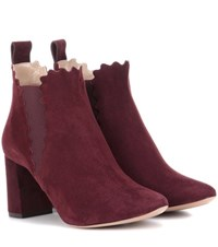 Chloe Lauren Suede Ankle Boots Red