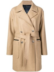 Fay Belted Double Breasted Coat Neutrals