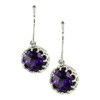 London Road 9Ct Gold Chequer Cut Stone Drop Earrings Amethyst