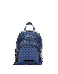 Kendall Kylie Sloane Nano Studded Leather Backpack Navy Blue