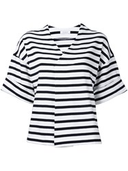 En Route Striped V Neck T Shirt Women Cotton One Size Black