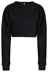 W118 By Walter Baker Nicole Lace Up Cropped Cotton Blend French Terry Sweatshirt Black