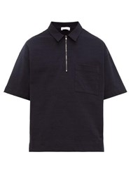 Raey Zip Up Cotton Jersey Polo Shirt Navy