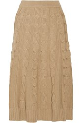 Michael Kors Collection Cable Knit Merino Wool And Cashmere Blend Midi Skirt Camel