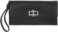 Carven Black Leather Clasp Wallet