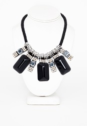 Missguided Alaw Rope Statement Jewel Necklace Black