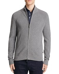 Michael Kors Rib Knit Zip Up Cardigan Ash Melange