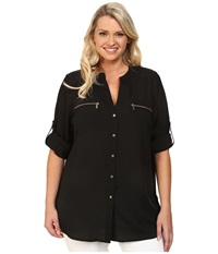 Calvin Klein Plus Plus Size Zipper Roll Sleeve Black Women's Blouse