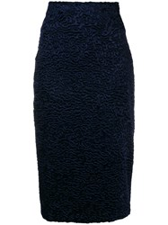 Each X Other Faux Astrakhan Skirt Blue