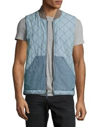 Faherty Quilted Chambray Vest Indigo