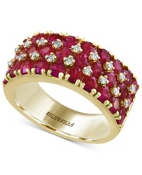 Effy Final Call Ruby 3 3 8 Ct. T.W. And Diamond 1 5 Ct. T.W. Band In 14K Gold Yellow Gold