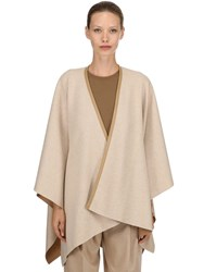 Agnona Cashmere Cape W Leather Trim Beige