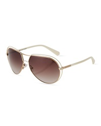 Balmain Trimmed Two Tone Aviator Sunglasses Ivory Brown