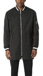 Kenzo Tech Cotton Long Bomber Jacket Black