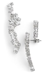Women's Cz By Kenneth Jay Lane Cubic Zirconia Drop Back Linear Stud Earrings