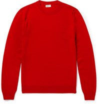 Saint Laurent Distressed Wool And Cashmere Blend Sweater Red