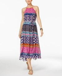 Inc International Concepts Printed Halter Midi Dress Only At Macy's Navy Pink Print