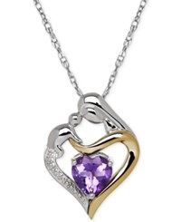 Macy's Amethyst 1 1 10 Ct. T.W. And Diamond Accent Mother And Child Pendant Necklace In Sterling Silver And 14K Gold
