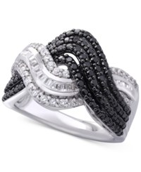 Wrapped In Love Diamond Wavy Ring 1 Ct. T.W. Sterling Silver Created For Macy's