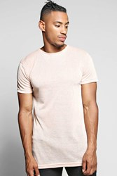 Boohoo Fit Knitted T Shirt With Curved Hem Pink