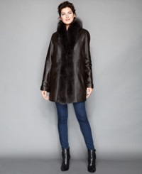 The Fur Vault Fox Fur Trimmed And Rabbit Fur Lined Leather Coat Brown Brown