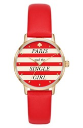Kate Spade Women's New York Metro Wine And Dine Leather Strap Watch 34Mm Red White Gold