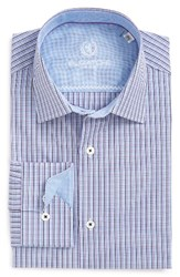 Bugatchi Men's Big And Tall Trim Fit Check Dress Shirt Lavender